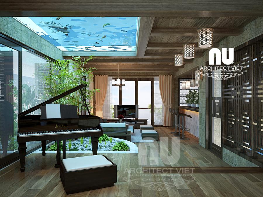 thiết kế nội thất nhà phố hiện đại 5 tầng 78m2 tại Cầu Giấy – với bể cá thủy sinh đẹp