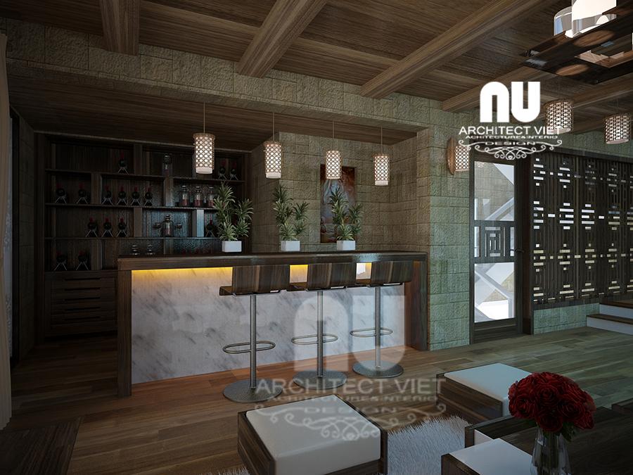 thiết kế nội thất nhà phố hiện đại 5 tầng 78m2 tại Cầu Giấy – với quầy bar hiện đại