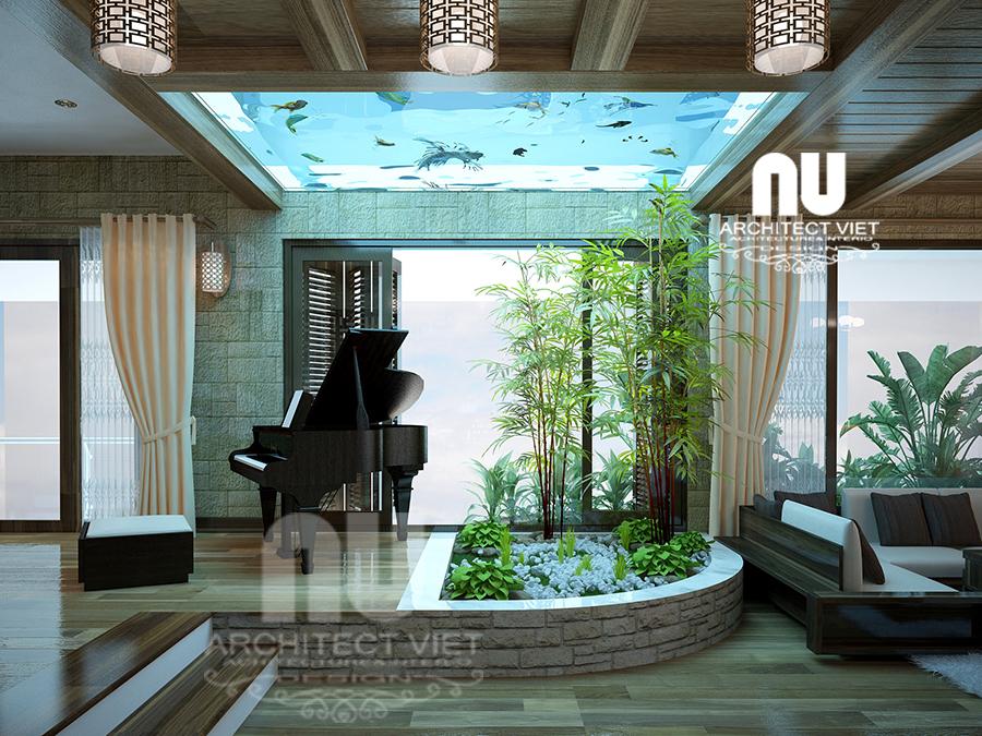 thiết kế nội thất nhà phố hiện đại 5 tầng 78m2 tại Cầu Giấy – với tiểu cảnh đẹp
