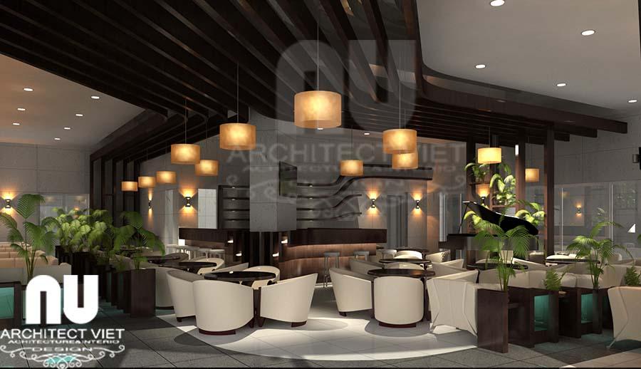 Thiết kế nội thất quán cafe kết hợp ăn nhanh với không gian sang trọng