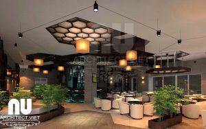thiết kế nội thất quán cafe kết hợp ăn nhanh