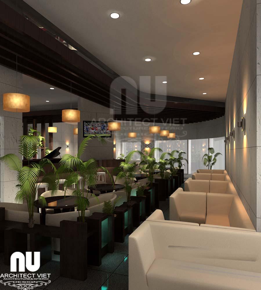 thiết kế không gian xanh trong quán cafe kết hợp ăn nhanh