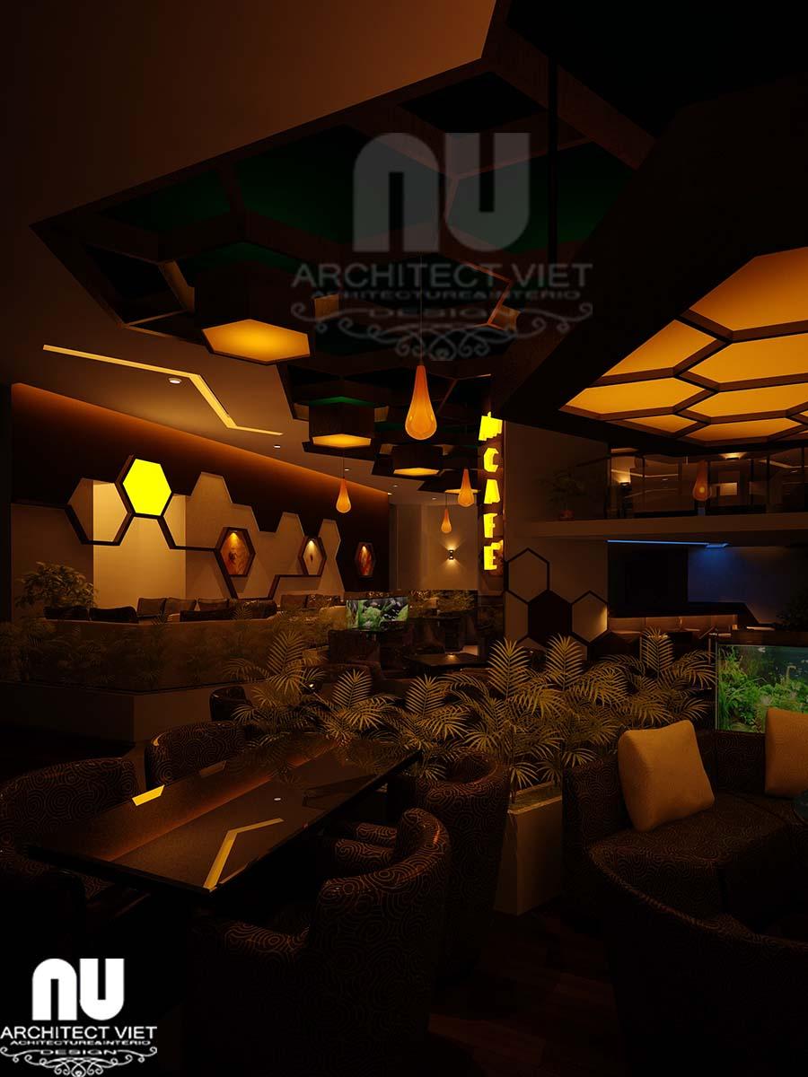 hình ảnh quầy bar quán cafe vào ban đêm