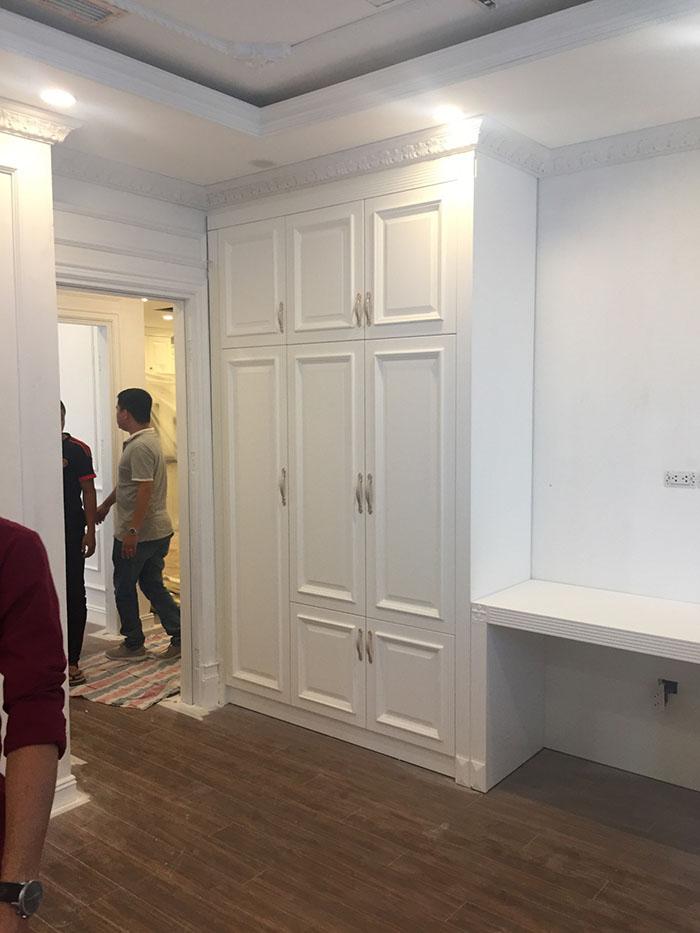 ảnh thi công hoàn thiện nội thất chung cư tân cổ điển