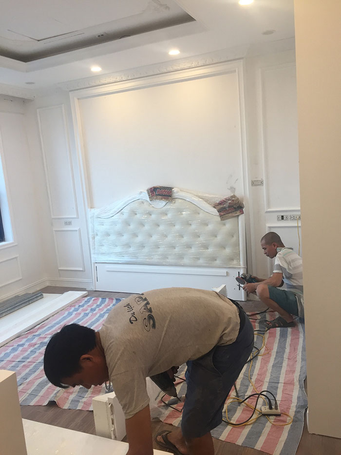 thi công nội thất chung cư với mẫu phòng ngủ tân cổ điển