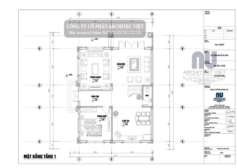 thiết kế biệt thự 3 tầng tân cổ điển 140m2