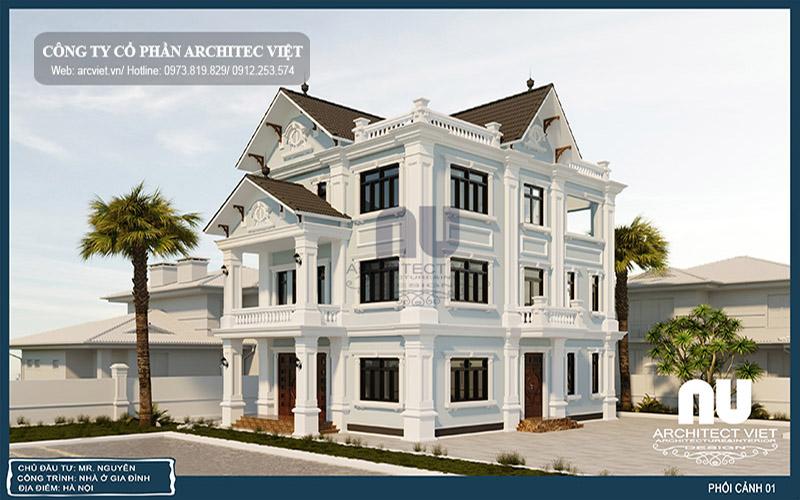 thiết kế biệt thự 3 tầng tân cổ điển 10x14m