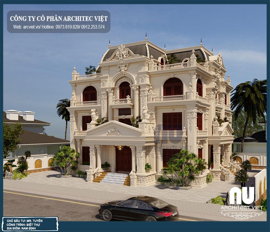 thiết kế biệt thự 3 tầng tân cổ điển 4 phòng ngủ 190m2
