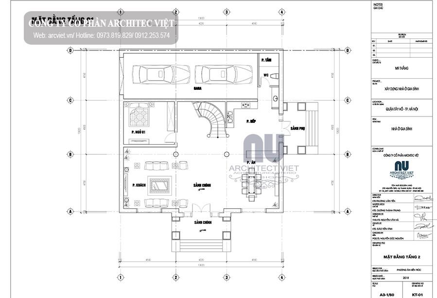bố trí công năng tầng 1 biệt thự 3 tầng tân cổ điển 4 phòng ngủ 190m2