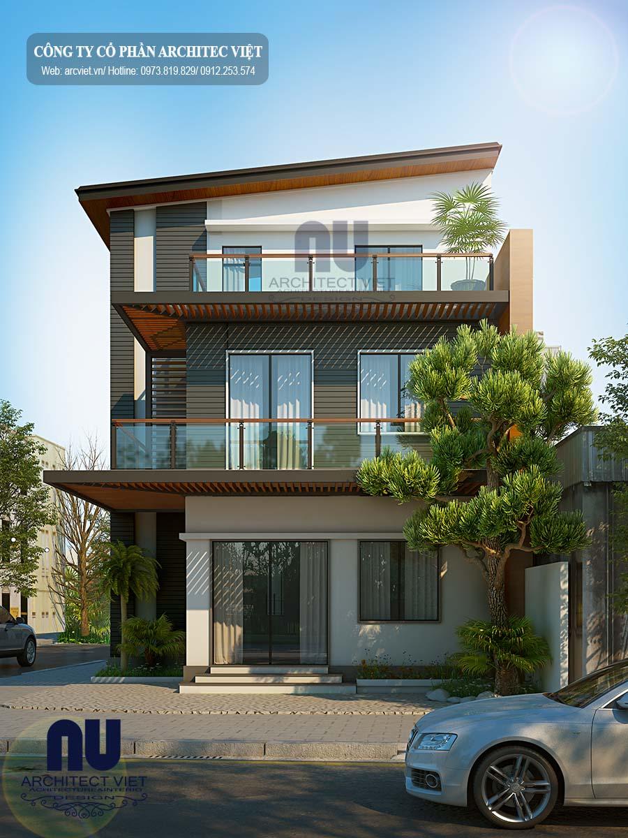 thiết kế biệt thự hiện đại 3 tầng 2 mặt tiền