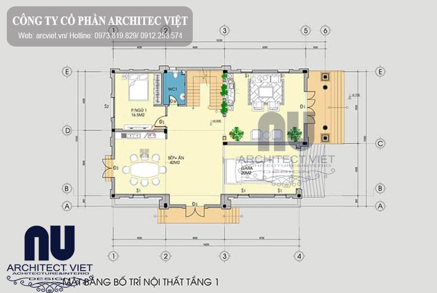 mặt bằng tầng 1 biệt thự pháp 3 tầng mặt tiền 10m