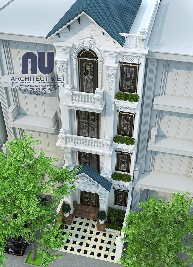 Hình ảnh phối cảnh nhìn từ trên cao sau khi cải tạo nhà phố 4 tầng tân cổ điển