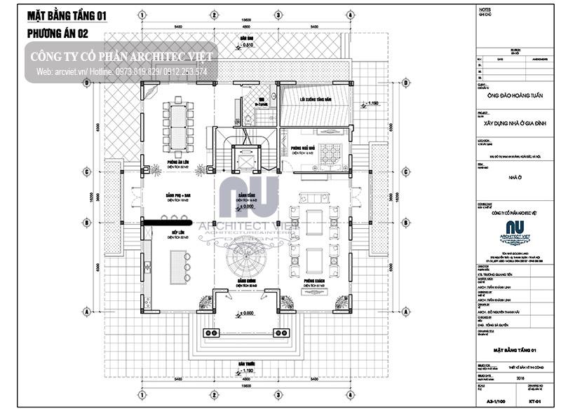 bố trí mặt bằng tầng 1 biệt thự 3 tầng kiểu Pháp 250m2