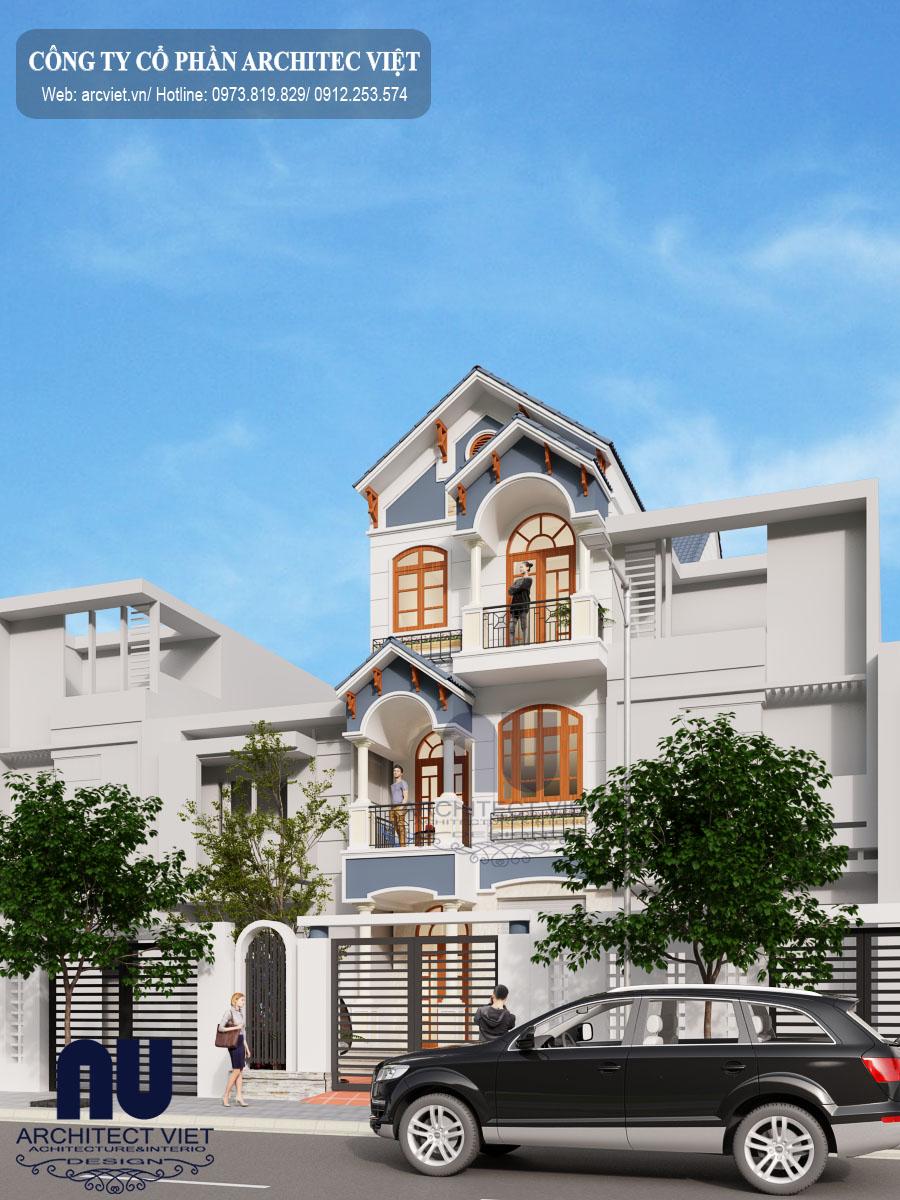 thiết kế nhà phố 3 tầng mặt tiền 6m sang trọng