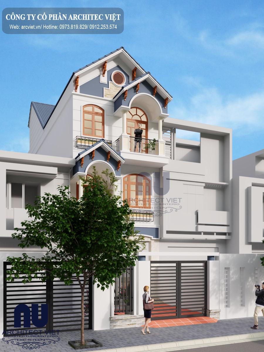 Thiết kế nhà phố 3 tầng mặt tiền 6m với ngoại thất xa hoa, tráng lệ
