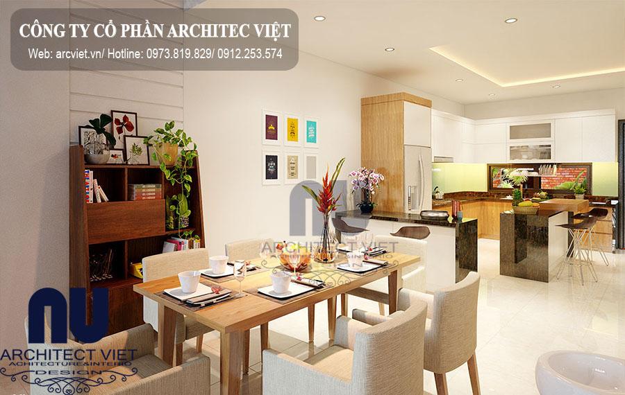 Phòng ăn của nhà phố mặt tiền 6m đẹp