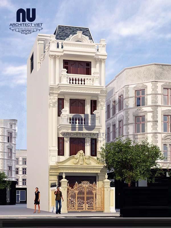 Thiết kế kiến trúc nhà phố 4 tầng 75m2 phong cách tân cổ điển
