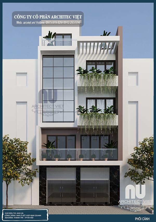 nhà ở kết hợp kinh doanh 5 tầng 7,5x7m