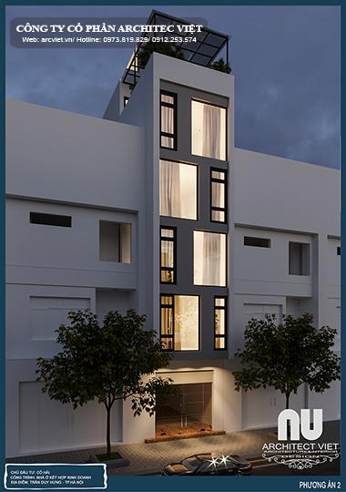 Ngoại thất nhà ở kết hợp kinh doanh 3,9×16,5 5,5 tầng sang trọng về đêm