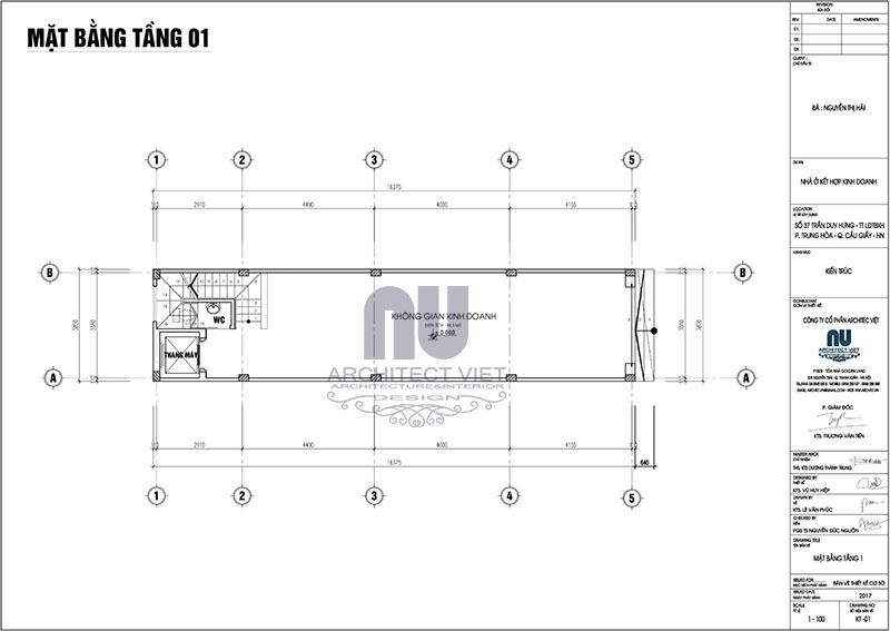 Thiết kế mặt bằng tầng 1 nhà ở kết hợp kinh doanh 3,9×16,5m