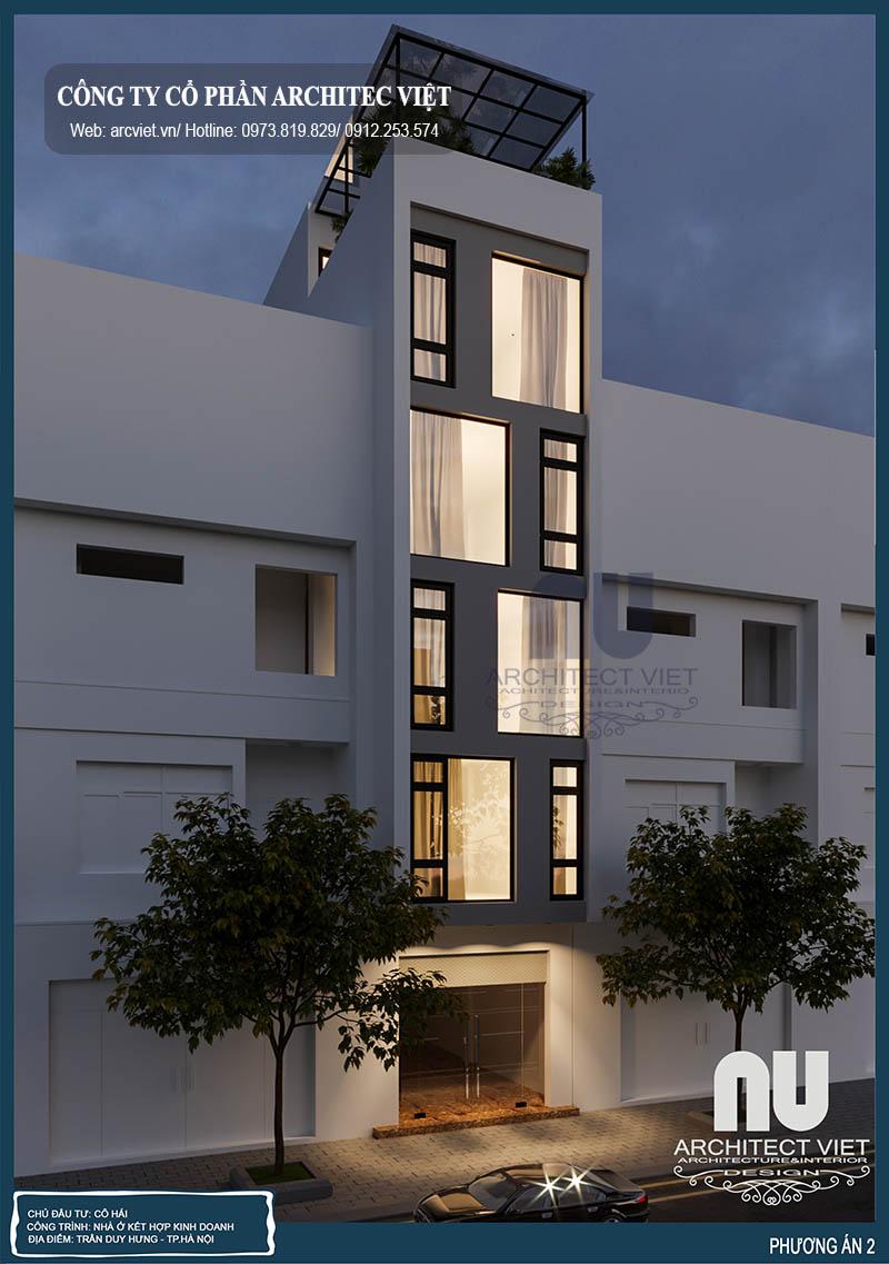 mẫu nhà phố 5 tầng mặt tiền 4m  nhà ở kết hợp kinh doanh với phong cách hiện đại