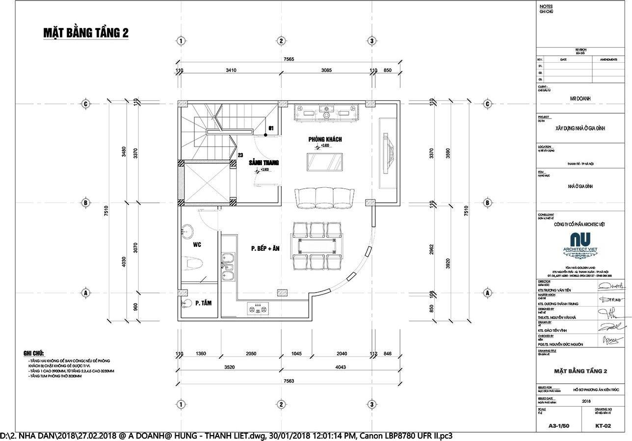 Mặt bằng tầng 1 nhà ở kết hợp kinh doanh 2 mặt tiền 45m2
