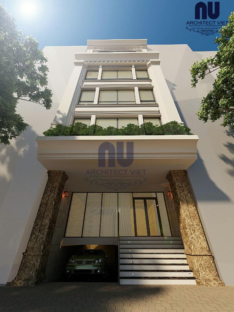 Phối cảnh 3D của mẫu nhà ở 6 tầng kết hợp kinh doanh 8×14,5m