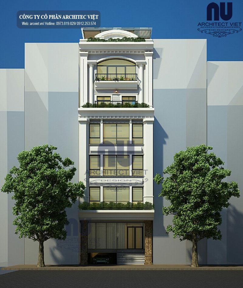 Mặt đứng của mẫu nhà ở 6 tầng kết hợp kinh doanh 8×14,5m