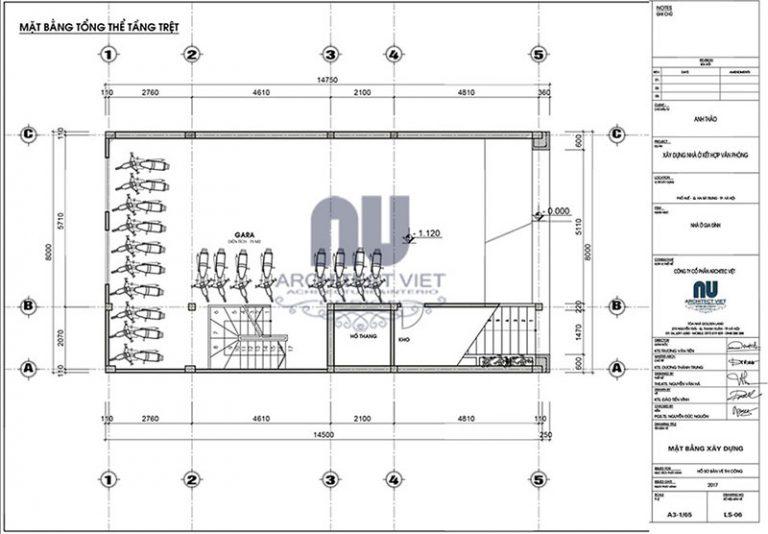 Tầng trệt nhà ở kết hợp kinh doanh 6 tầng 8×14,5m