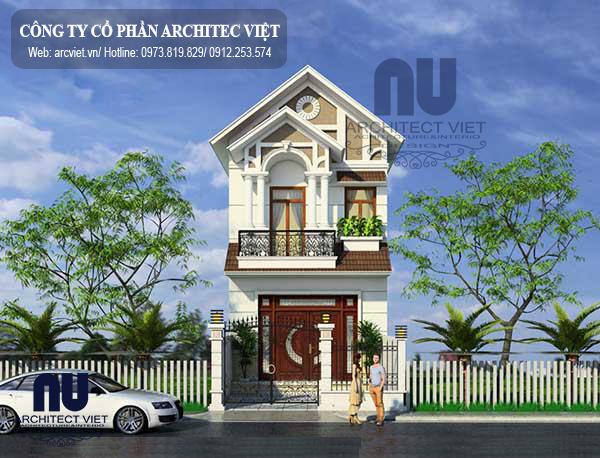 Ngoại thất sang trọng của mẫu nhà phố 2 tầng 60m2 ở Hà Nội