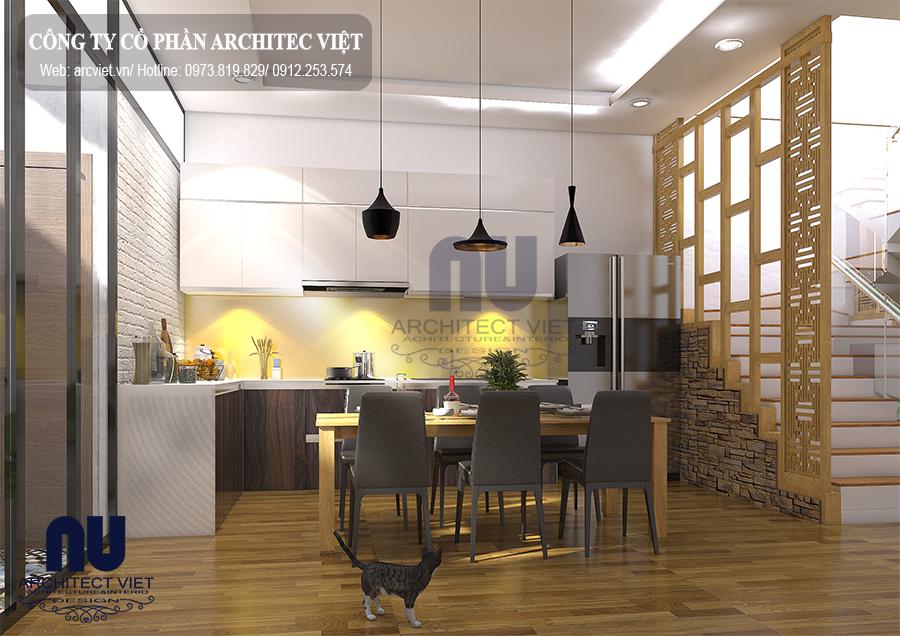 Công năng phòng bếp nhà phố 2 tầng 60m2