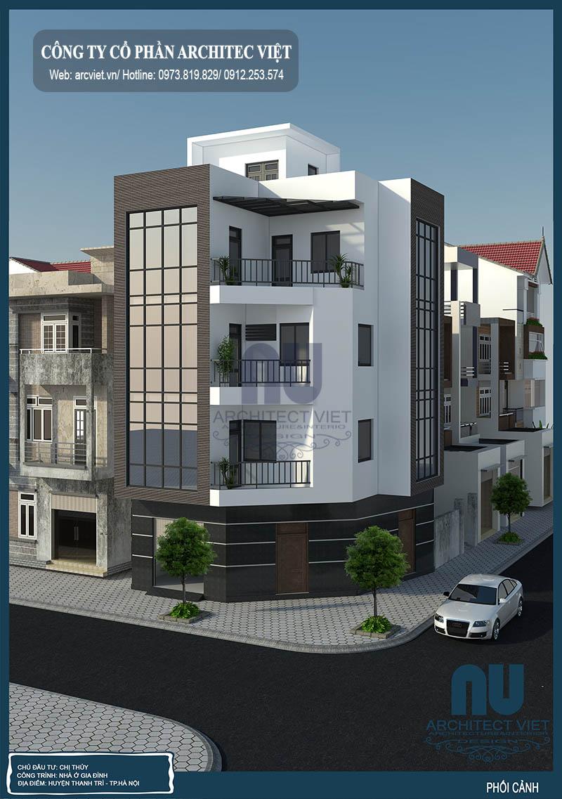 Thiết kế mẫu nhà phố 4 tầng 2 mặt tiền 70m2 theo phong thủy của gia chủ 1983