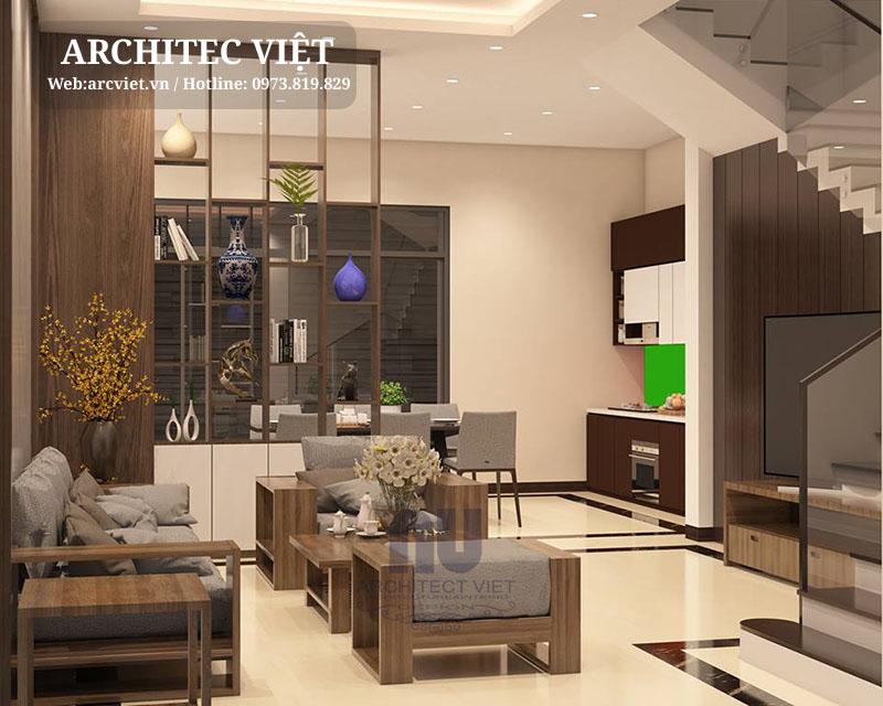 phòng khách nhà phố 3 tầng mặt tiền 5m sang trọng hiện đại