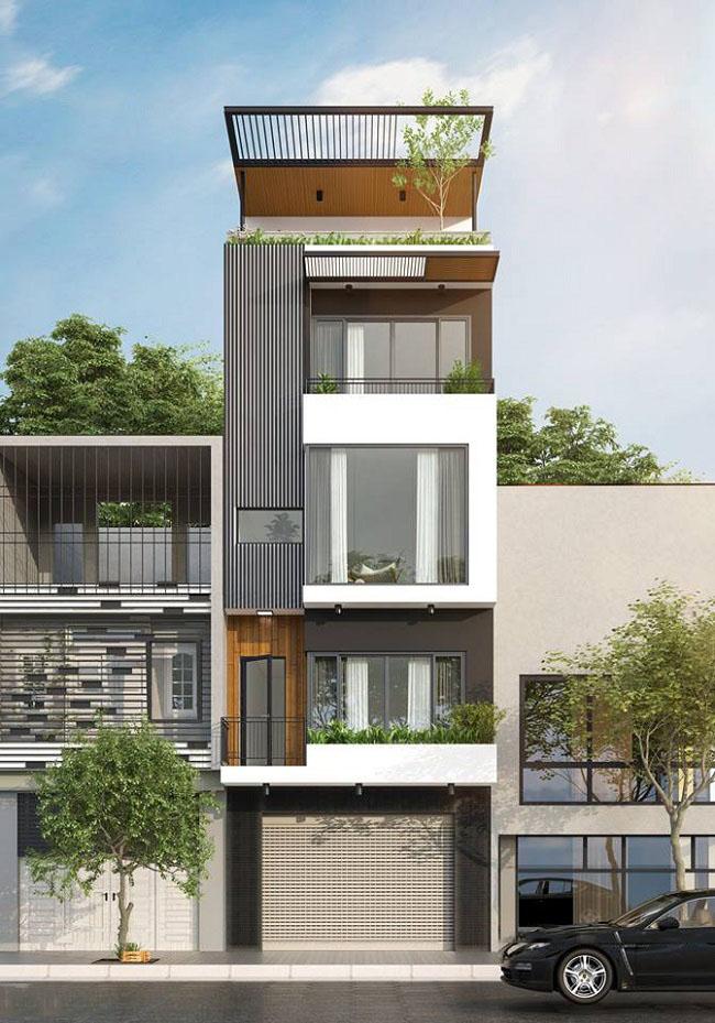 Ngoại thất sang trọng bắt mắt của mẫu nhà phố 4 tầng 50m2
