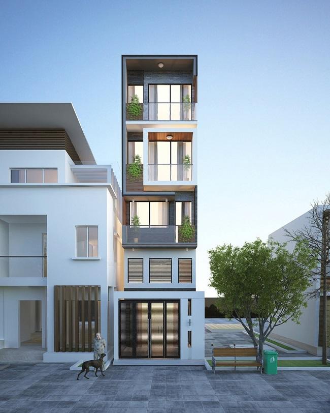 mẫu thiết kế nhà phố 4 tầng mặt tiền 3m đẹp