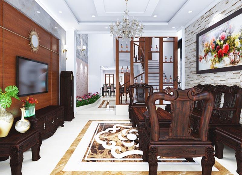 phòng khách nhà phố 4 tầng tân cổ điển sang trọng hiện đại