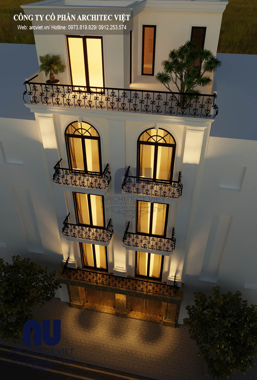 Ngoại thất sang trọng của thiết kế nhà phố 5 tầng 50m2