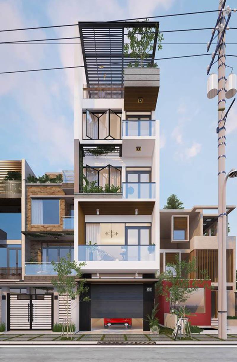 Ý tưởng thiết kế nhà phố 5 tầng 65m2 hiện đại sang trọng