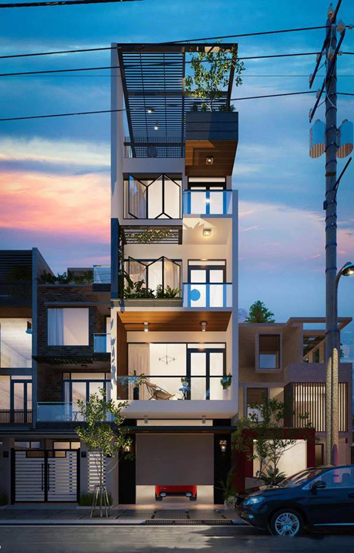 Phối cảnh mẫu nhà phố 5 tầng 65m2 phong cách hiện đại
