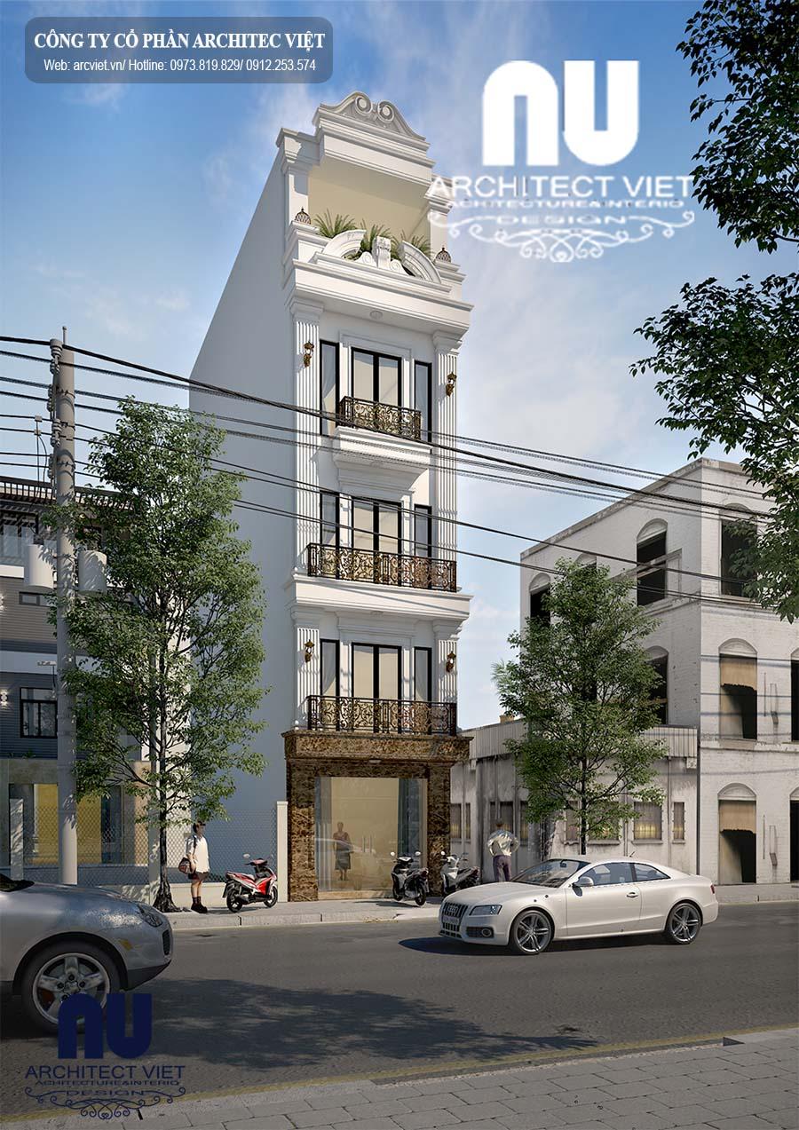 Góc nhìn nghiêng của mẫu nhà phố 5 tầng tân cổ điển sang trọng tinh tế