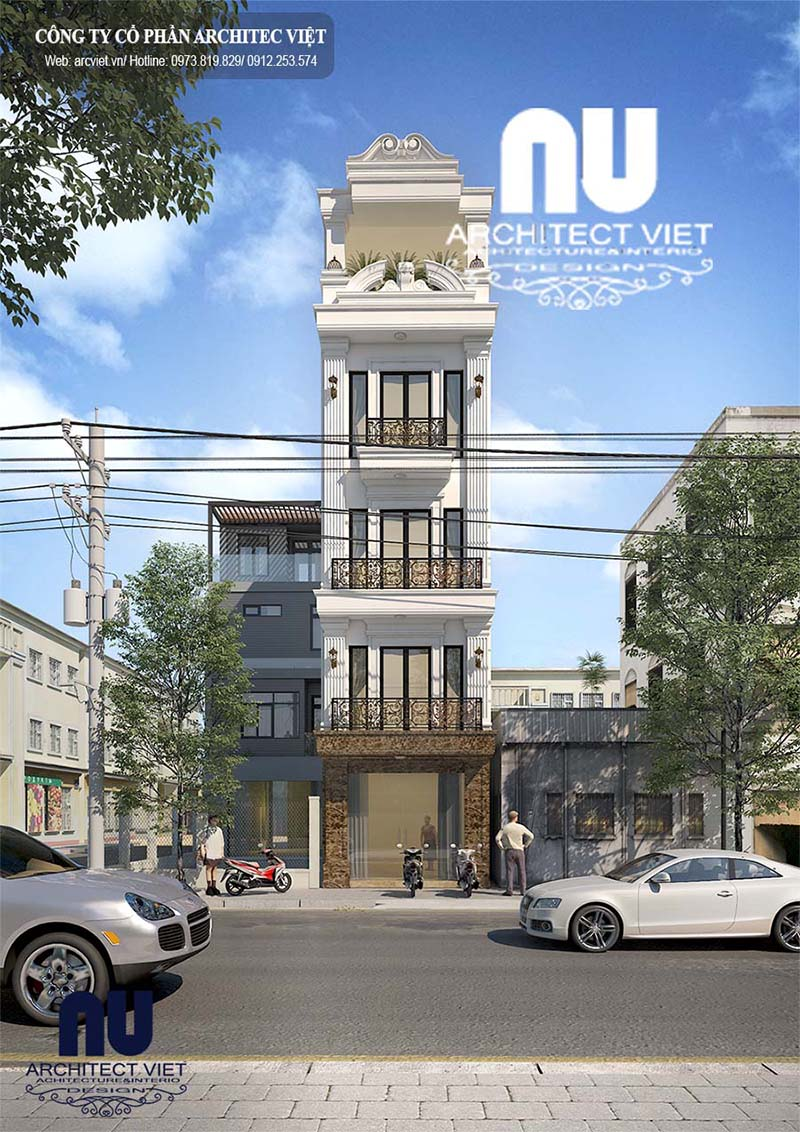 Thiết kế nhà phố 5 tầng tân cổ điển với ngoại thất sang trọng, đẹp mắt