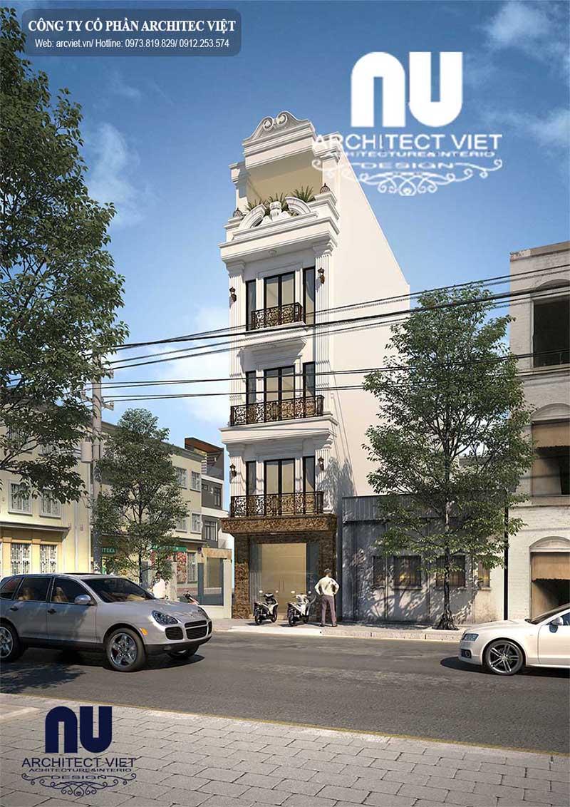 Ngoại thất sang trọng với nhà phố 5 tầng tân cổ điển sang trọng cổ điển