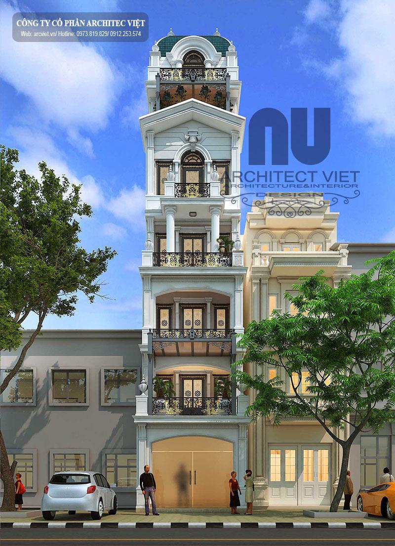 mẫu thiết kế nhà phố 6,5 tầng phong cách tân cổ điển