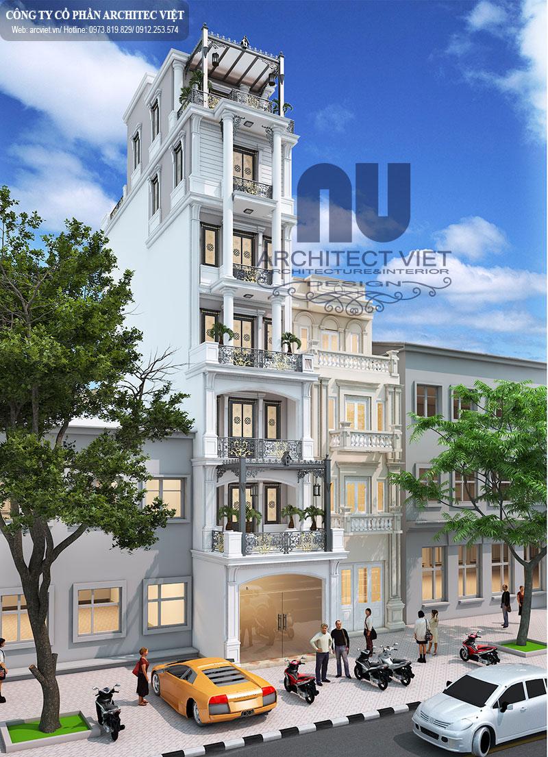 Ngoại thất sang trọng, tinh tế của ngôi nhà phố 6 tầng 1 tum 90m2
