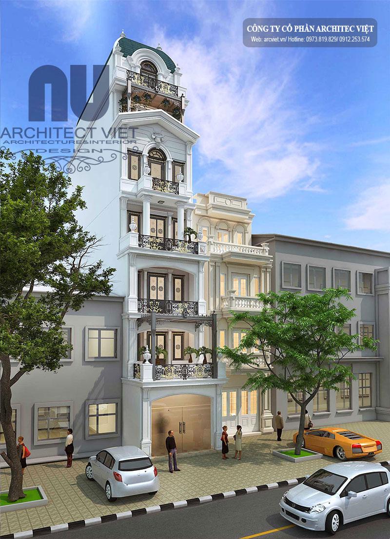 Tổng quan chi tiết về mẫu thiết kế nhà phố 6 tầng 1 tum 90m2