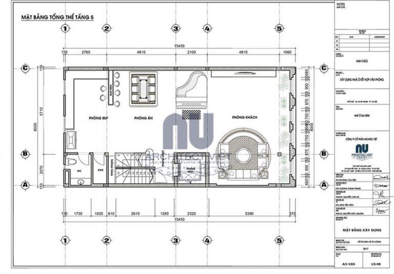 Bố tri mặt bằng công năng tầng 5 nhà phố 8×14,5m 5 tầng tân cổ điển đẹp kết hợp kinh doanh
