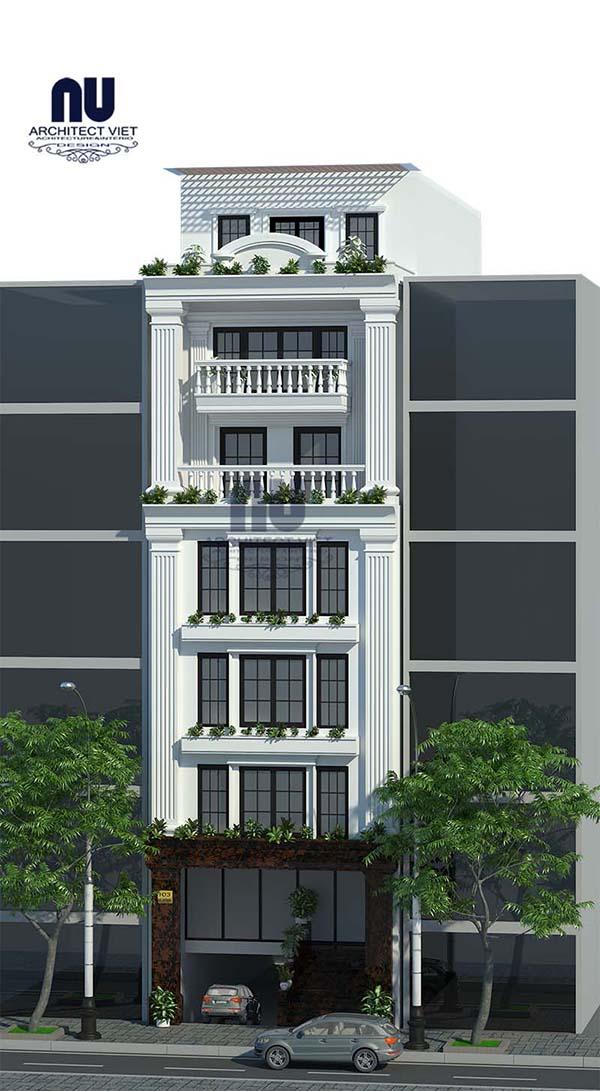 Mẫu nhà phố 6 tầng 8×14,5m tân cổ điển kết hợp kinh doanh hiện đại
