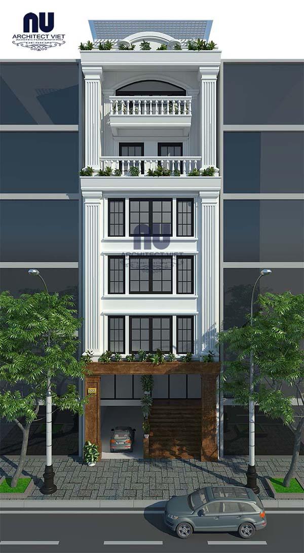 Hướng chính của mẫu nhà phố 6 tầng 8×14,5m tân cổ điển kết hợp kinh doanh