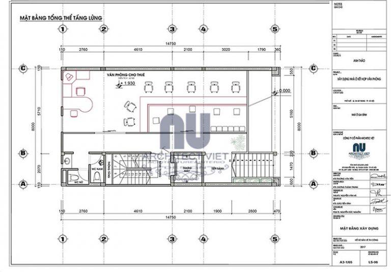 Bố tri mặt bằng công năng tầng lửng nhà phố 8×14,5m 6 tầng tân cổ điển đẹp