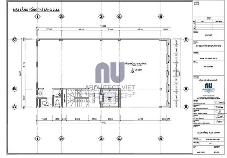 Bố tri mặt bằng công năng tầng 2,3,4 nhà phố 8×14,5m 6 tầng tân cổ điển đẹp kết hợp kinh doanh